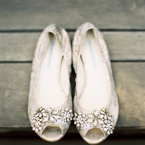 Wedding Silver Flats Peep Toe