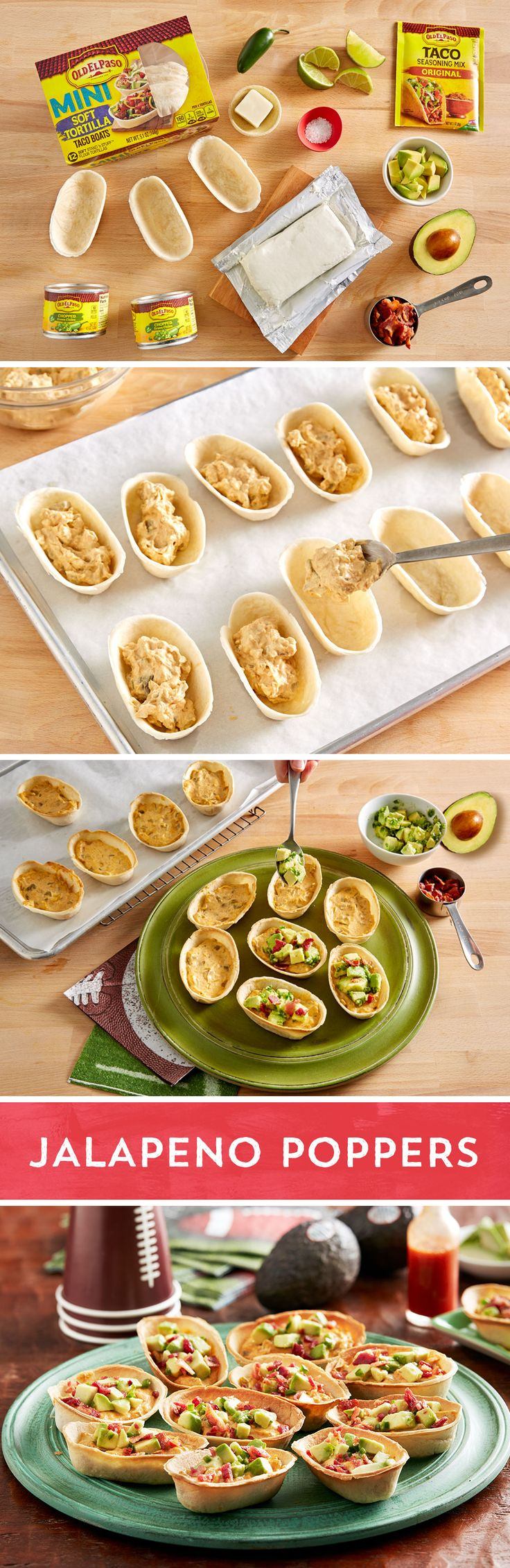 Get all the flavor of jalapeño poppers plus the creaminess of avocado with these quick, and easy appetizer boats. Combine cream cheese, Old El Paso™ Green Chiles and Old El Paso™ Taco Seasoning in a medium bowl. Spread mixture in Old El Paso™  Mini Taco Boats and bake 12-14 minutes. In a medium bowl gently mix an Avocado from Mexico™ avocado, jalapeño chile, lime juice and salt. Spoon avocado mixture into boats and top with bacon. Add a little kick to your game day party! Via @AvosFromMexico