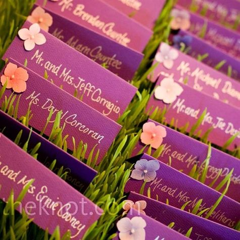 Flower seating cards - they will go great with our seashell favors