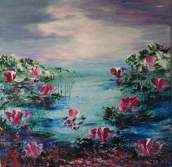 Ny original akryl målning 100x100 cm
