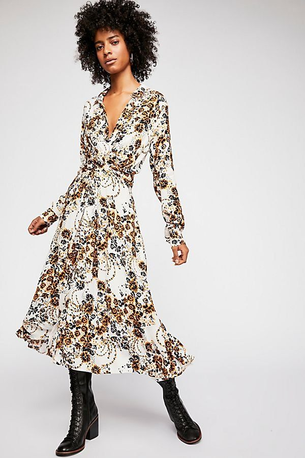 be67f08eb7f1 Tough Love Shirt Dress - White Midi Shirt Dress with Yellow and Black Floral  Pattern