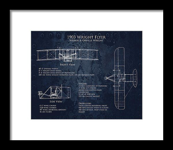 1903 Wright Flyer Blueprint Art Print Framed Print by Sara Harris.  All framed prints are professionally printed, framed, assembled, and shipped within 3 - 4 business days and delivered ready-to-hang on your wall. Choose from multiple print sizes and hundreds of frame and mat options.