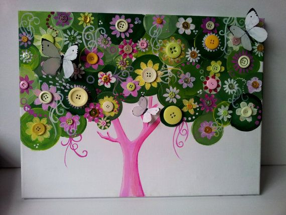 Custom made personalized button tree baby by for Custom acrylic paint