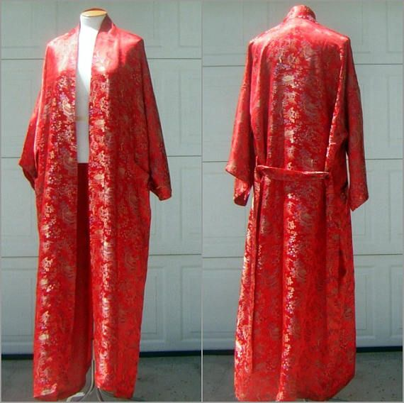 Red Kimono badjas Vintage Chinese tuin Satin Brocade maat S /
