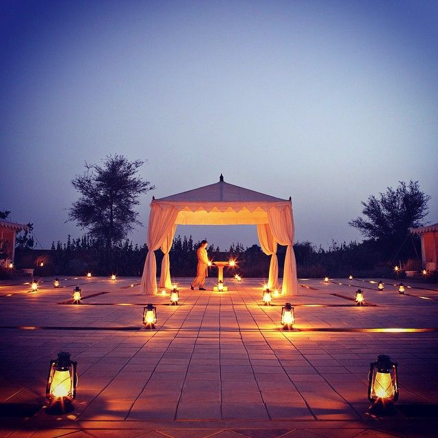The Serai, Jaisalmer. Hotel and restaurant in the desert. India, Jaisalmer.