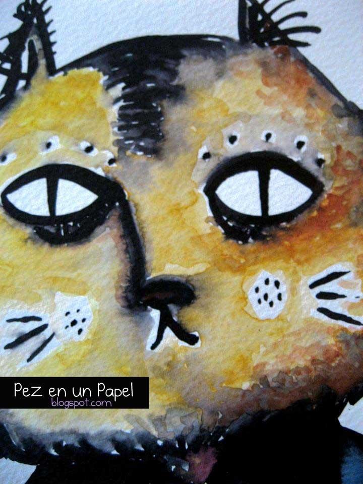 Señor Gato-Acuarela y Tintas