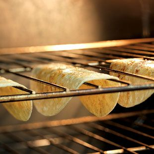 Baked taco shells...genius, and much healthier than fried shells but still with a crunch! SMART!