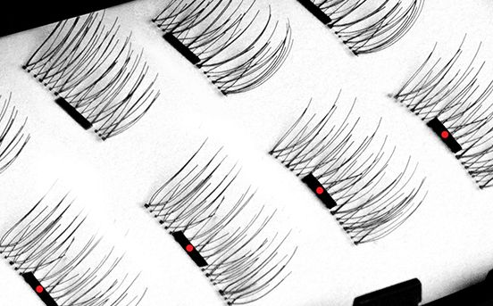 Magnetic eyelashes - Just sandwich each magnetic lash strip between your own natural lashes. You'll feel them click into place. One Two Cosmetics