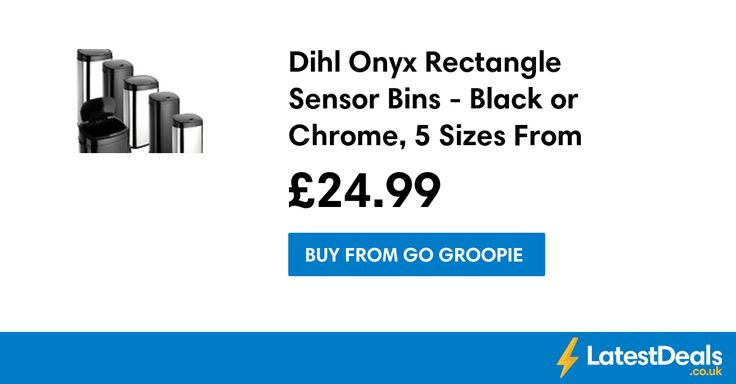 Dihl Onyx Rectangle Sensor Bins - Black or Chrome, 5 Sizes From £24.99 at Go Groopie