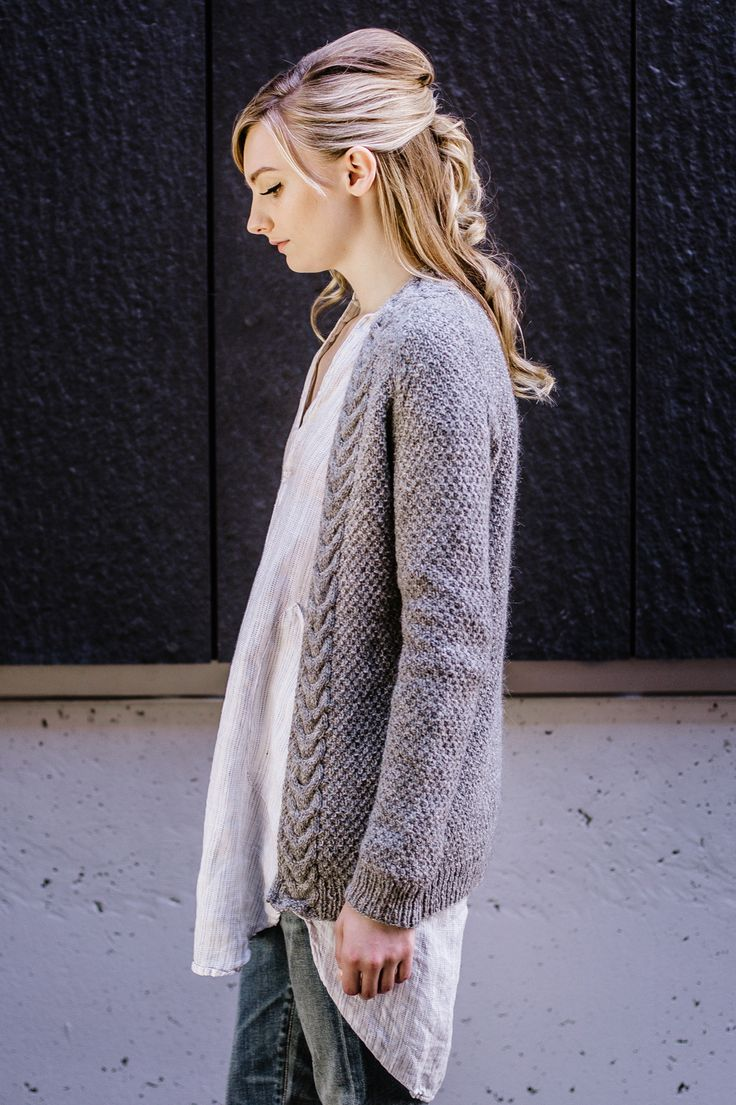 """west end cardigan / from the book """"texture: exploring stitch patterns in knitwear"""" by hannah fettig of knitbot / in quince & co. owl, color albertine"""
