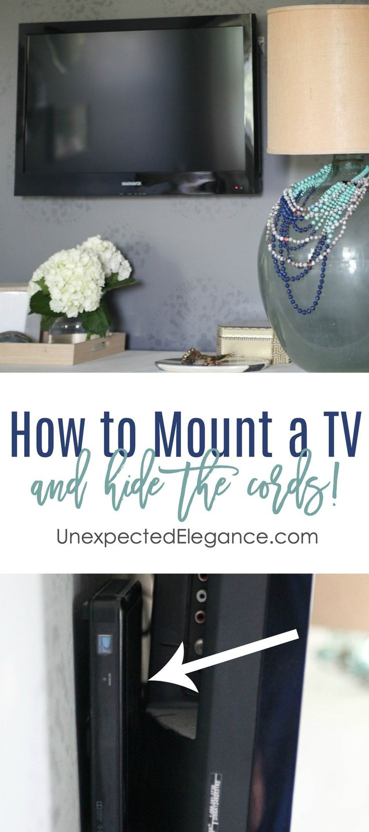 Find an easy solution for how to mount a tv and hide the cords! A few simple steps will make the entire area look much more appealing! Also, hide the cable box for less than $1!!