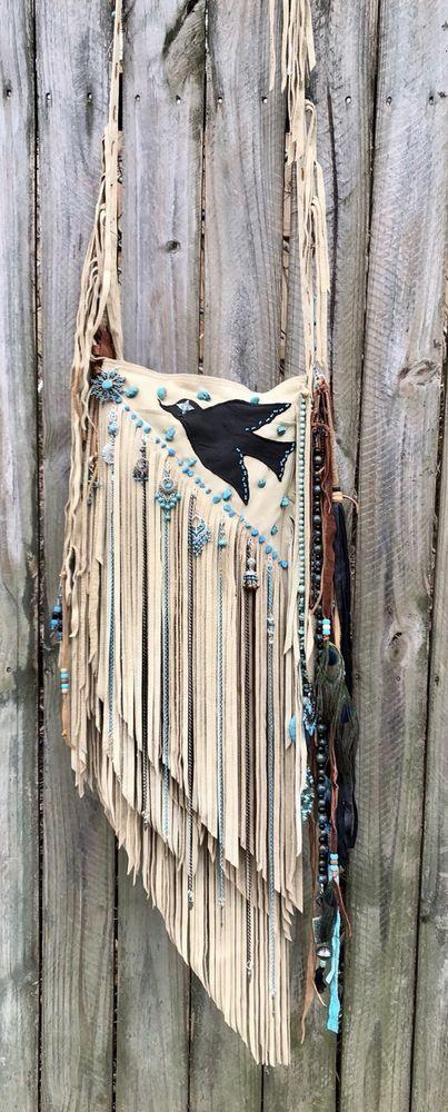 Handmade Tan Leather Diagonal Long Fringe Bag Boho Turquoise Hippie Purse B.Joy  | eBay