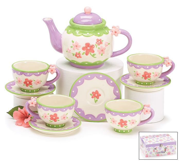 Enjoy teatime with this Tea Set with Mini Flowers from #burtonandburton! #teatime