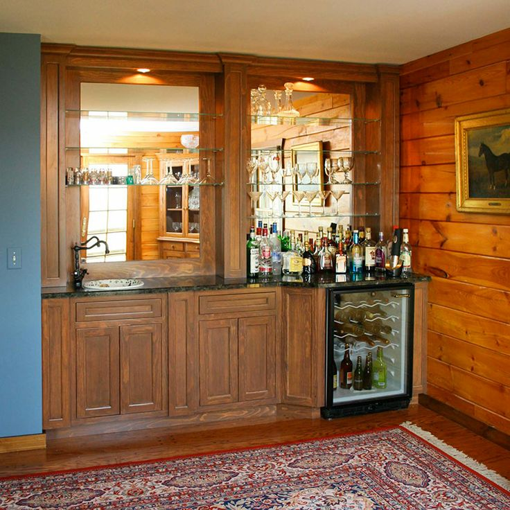 Man Cave Store Lancaster Pa : Wet bar with glass shelves and mirrored wall cabinet