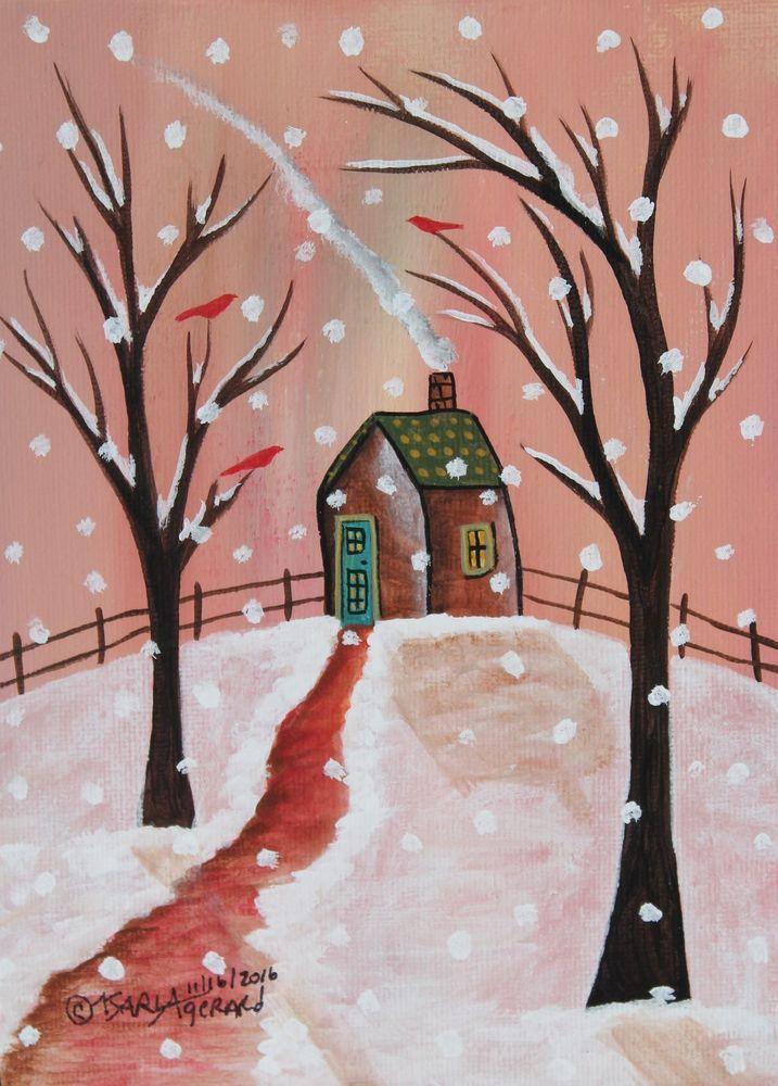 Brown Cabin ORIGINAL Canvas Panel PAINTING Folk Art SNOW 5 x 7 Karla Gerard #FolkArtAbstractPrimitive