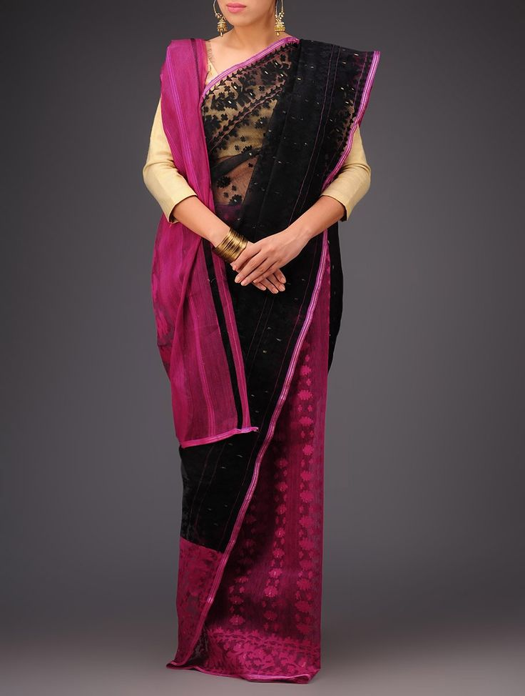 Buy Black Fuschia Cotton Jamdani Saree Sarees Woven Wondrous Ethereal Dhakai Online at Jaypore.com