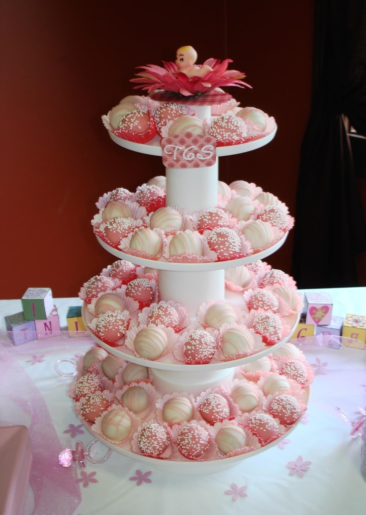 Wilton Baby Shower Cakes Part - 29: Baby Shower Cake Balls Display. I Love Wilton Products.