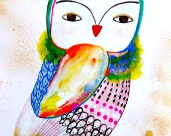 Hibou Peinture Originale Aquarelle Encre Gouache Oiseau Poussin Chouette Dessin Art Contemporain Décor Hibou Bleu Rose Vert Oiseau Aquarelle