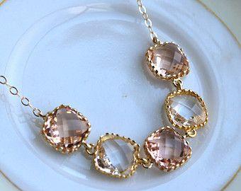 Crystal Clear Blush champán collar oro melocotón collar - collar nupcial de regalo de Dama de honor rosado cristal de Dama de honor de boda joyería