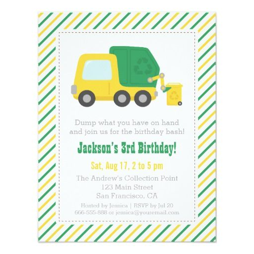 Recycling Garbage Truck Theme Boys Birthday Party