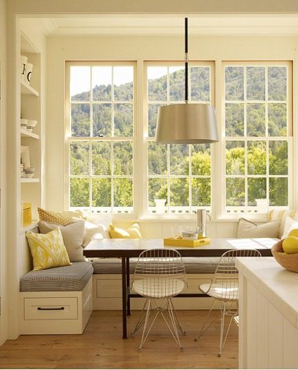 Breakfast Nook Interior Decor Dining Ideas -- love the built in drawers and shelves above. Also the combination of yellow and gray. Warm with cool.