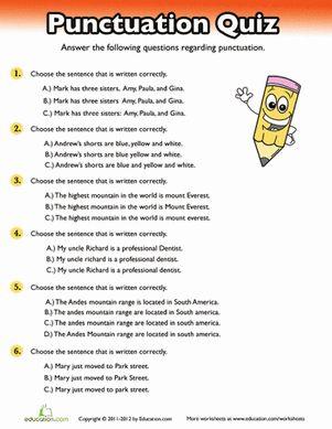 punctuation quiz 5th grade writing punctuation worksheets grammar worksheets grammar lessons. Black Bedroom Furniture Sets. Home Design Ideas