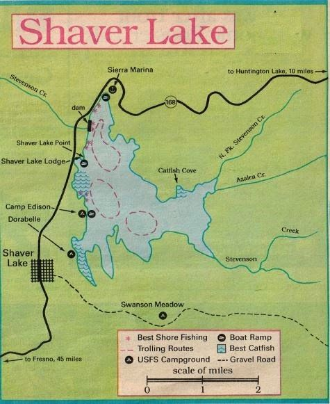 2017 shaver lake fishing map and fishing report and for Silverwood lake fishing report