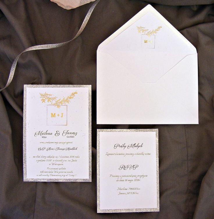 Zaproszenia ślubne glamour srebro, złoto i gałązka oliwna ze zdobioną kopertą