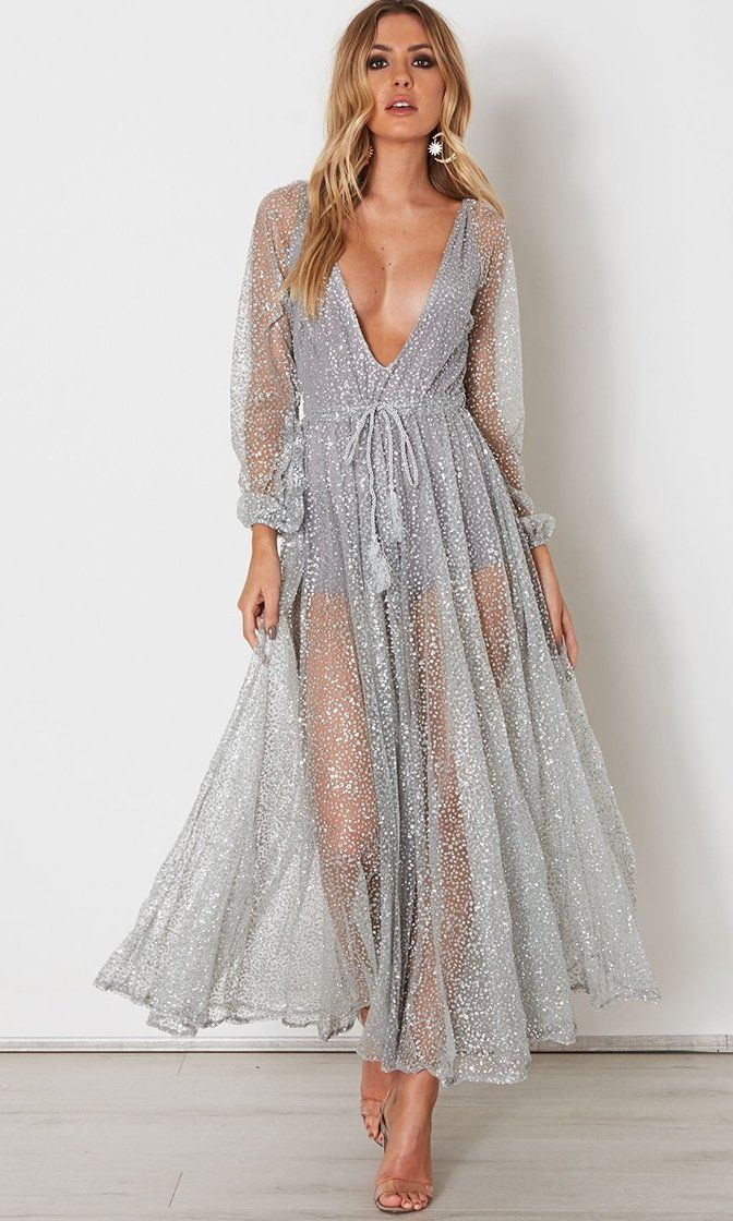 1f1453f39e1 Get Up And Glimmer Sheer Mesh Glitter Long Sleeve Plunge V Neck Maxi Dress  - 2 Colors Available