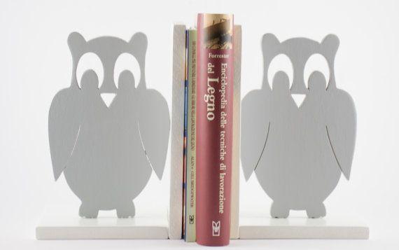 Fermalibri in legno Gufi/Civette Grigio (coppia) - Wood Bookends Owl Gray (couple)