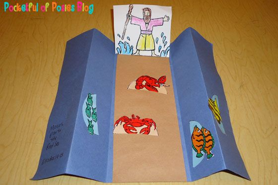 Moses parting the Red Sea - Bible Story - Exodus ( I would use people in the middle instead of crabs and fish.)