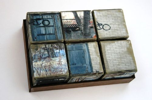 mixed media, distressed wood blocks
