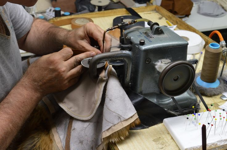 A fur sewing machine. Despite its old look, it's a robust, fine machine which is used for handcrafting thousands of fur garments.