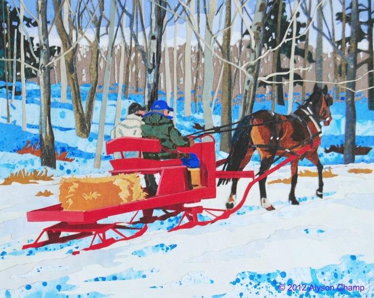"""""""Sleigh Ride"""" 8x10 inch original painted paper collage on panel."""