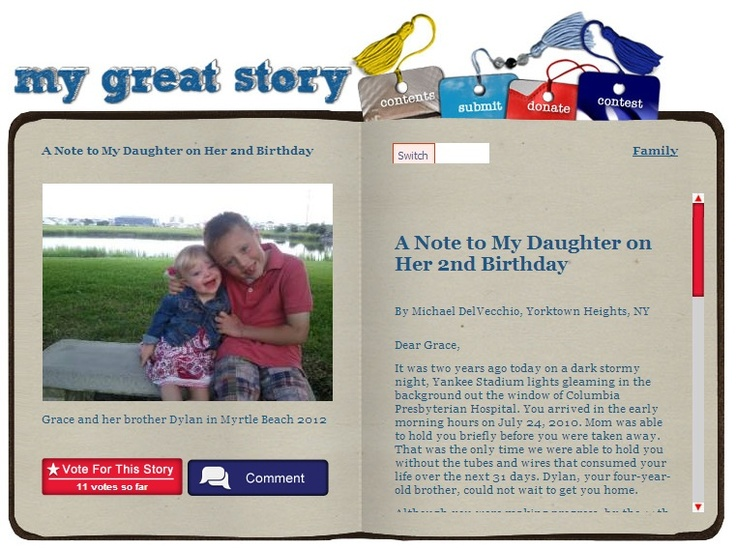 Check out the September 2012 My Great Story of the Month Contest winner Michael DelVecchio, Yorktown Heights, NY. Share your story at ndss.org/stories!