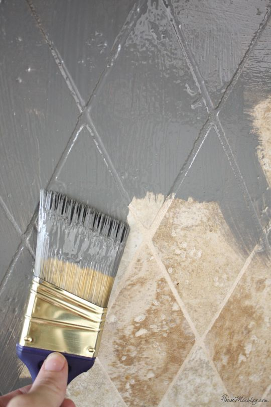 Paint tile backsplash with oil based paint for an easy update: