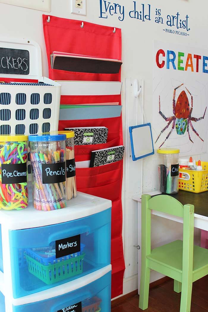 Organize kids art supplies in a small space with these clever and inexpensive ideas.           Back to School is the perfect time to figure...