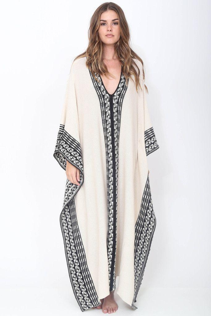 Goddis Torrin Caftan in Salt & Pepper Boho Luxe Fashion