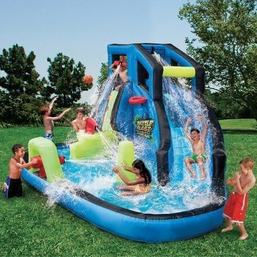 Inflatable Slide Pool Waterslide Water Park Outdoor Summer Wet Kids Swim Party Banzai