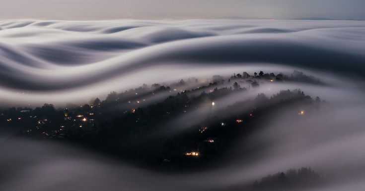 Stunning Long-exposure Shot Of Marin County Covered With Fog Lit By A Full Moon