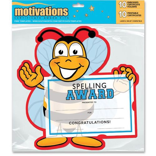 "Southworth Motivations Spelling Bee Award Certificate 8.50"" x 5.5..."