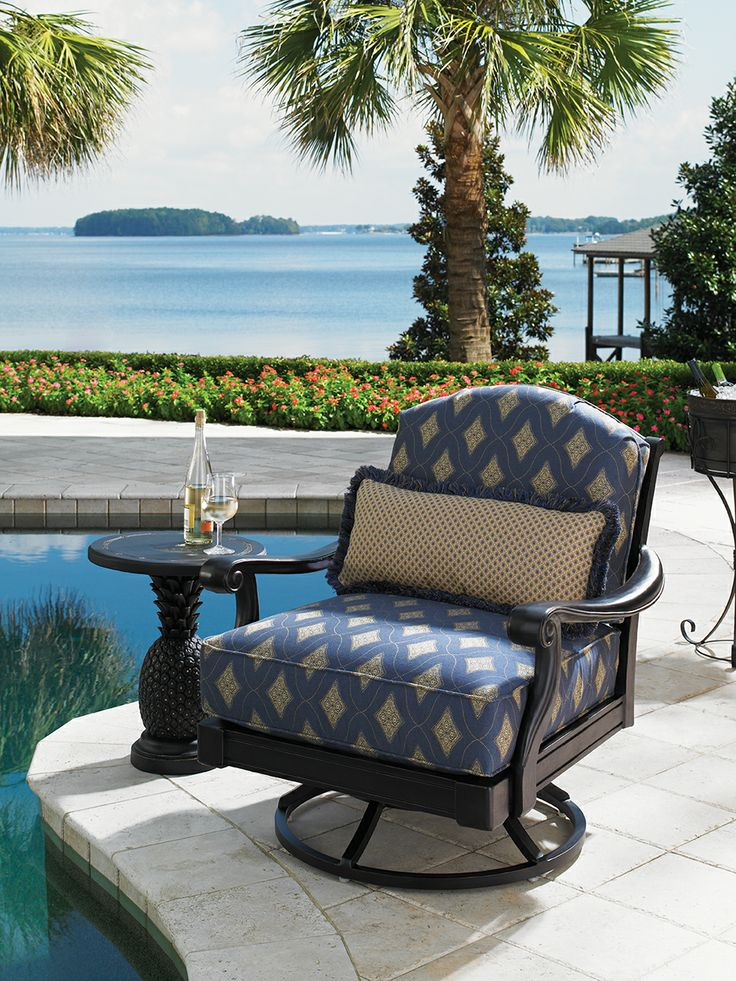 Kingstown Sedona Cast Aluminum Swivel Lounge Chair And Pineapple Side Table  From Tommy Bahama.