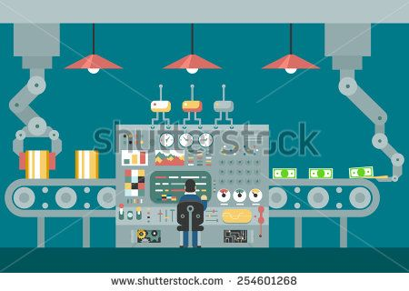 Conveyor robot manipulators work businessman in front of control panel analysis production development study flat design concept illustration