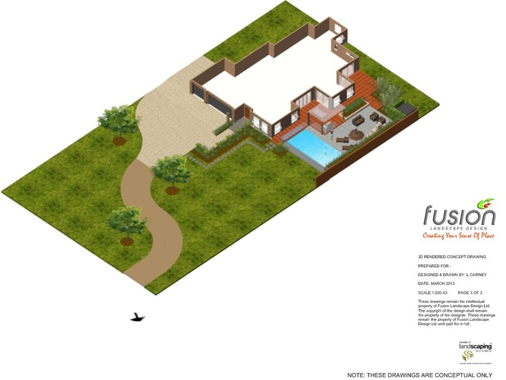 3D concept drawing of a design for a life style block. This particular part of the design is for the driveway, parking, front entrance and entertainment area immediately around the new home. Designed and drawn by Fusion Landscape Design. www.fusionlandscapedesign.co.nz.