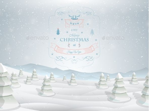 Christmas greeting card template vector illustration. Merry Christmas greetings against the background of snowed up forest, and mountains. Archive includes: JGP file 60004500 pixels full editable EPS file To modify vector EPS file, vector editing software such as Adobe Illustrator, Freehand, or CorelDRAW is required.