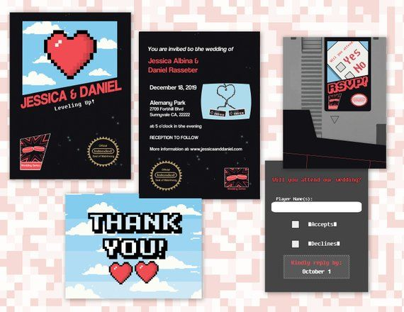 Classic Video Game Wedding Invites // NES Digital Invites // Old School Nintendo Wedding // Printable Invite// Geek Wedding // Gamer Wedding