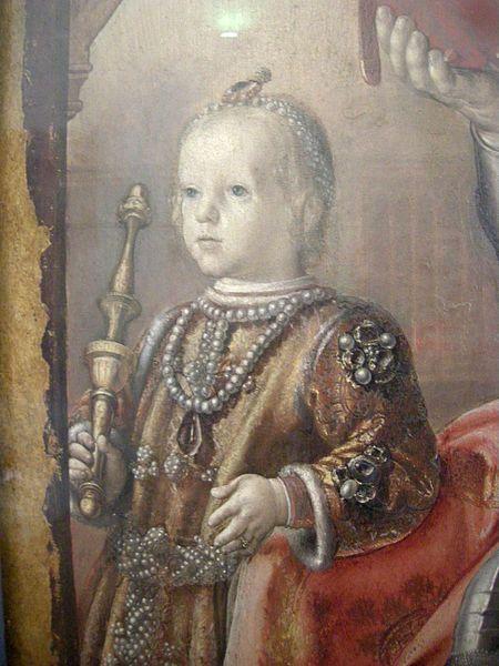Federico da Montefeltro con il figlio Guidobaldo bambino di Pedro Berruguete,Palazzo Ducale di Urbino-Galleria Nazionale delle Marche.Сын Федериго, Гвидобальдо да Монтефельтро, не сумел поладить с папой Борджиа и был изгнан из владений предков сыном папы, Чезаре Борджиа,к-рый узурпировал и герцогский титул.