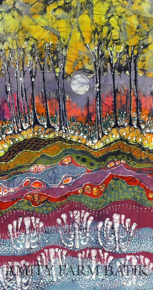 Moonlight Over Spring - limited edition very large, giclee print of original batik. $250.00, via Etsy.