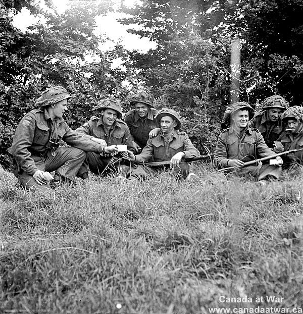 Infantrymen of an unidentified regiment of the 9th Canadian Infantry Brigade in…