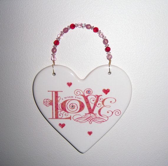 Ceramic heart plaque  I Wish You Love by MoanasUniqueDesigns, $10.00